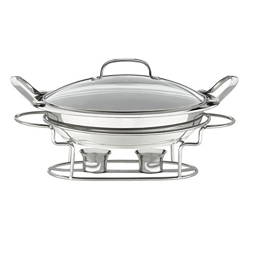 Stainless Steel Classic Entertaining Round 3-quart 12-inch Buffet Server, Silver