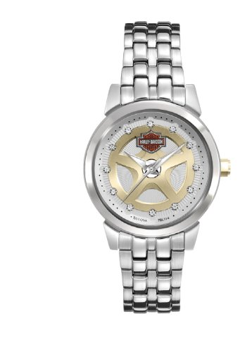 Harley-Davidson® Bulova® Women's Stainless Steel Wrist Watch. White Dial with Gold Tone Spokes. Swarovski Cystal Hour Marks. Luminous Hand with Sweep Second Hand. 78L114