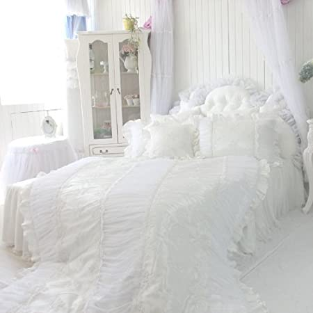 DIAIDI,Custom Made,Luxury Silk Bedding Set,White Princess Lace Ruffle Bedding Set,4Pcs,Queen King Size,Natural Silk (5 feet bed)