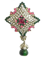 Faux Ruby, Emarald, White Zirconia Studded Diamond Shaped Brooch - Stone And Metal