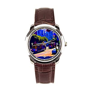 sanYout Mens Watches Leather Band Town Wrist Watch Online Blue Leather Watch Men Graphic