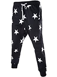 Men\'s Star Printing Hip Hop SweatPants Sweatshirt Harem Dance Jogger suits US size L/Tag XXL Black