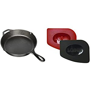 Lodge L8SK3 Pre-Seasoned Cast-Iron Skillet, 10.25-inch and Lodge SCRAPERPK Durable Polycarbonate Pan Scrapers, Red and Black, 2-Pack Bundle