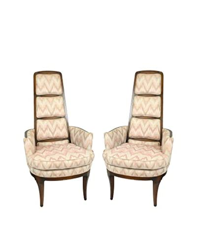 Uptown Down Set of Vintage Upholstered Chairs, Tan/Pink