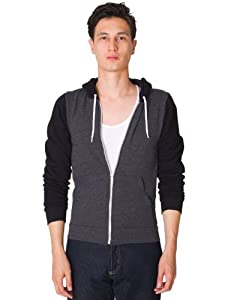 American Apparel Flex Fleece Two-Tone Zip Hoodie - Dark Heather Grey / Black / 2XL