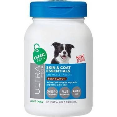 GNC Ultra Mega Skin Coat Essentials Adult Dog Chewable Tablet Beef Flavor 60 Tablets by GNC Pets (Omega 3fatty Acids compare prices)