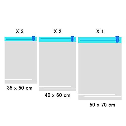 [Lot de 6] idealeben main Rouleau Joint d'étanchéité sous vide vêtements sacs de rangement pour voyage (35cm x 50cm?; 40cm x 60cm?; 50cm x 70cm)