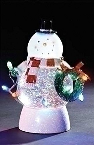 Led Light Up Swirl Snowman Snow Globe With Christmas Tree And Lights