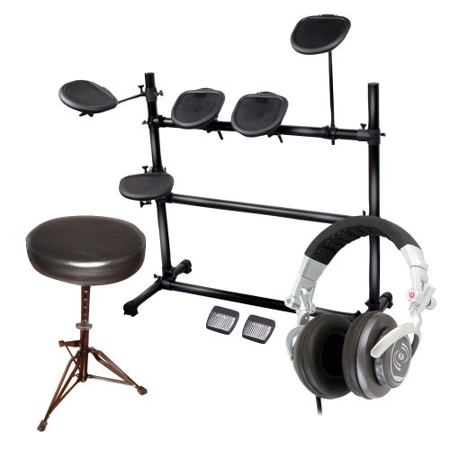 Pyle Electric Drum Kit, Stool And Dj Headphones Package - Ped03 Electronic Drum Set With 5 Pads, 2 Pedals, Natural Response Cymbals And Drums - Pkst50 Double Braced Folding Padded Drum Throne - Keyboard Bench - Guitar Stool - Phpdj1 Professional Dj Turbo