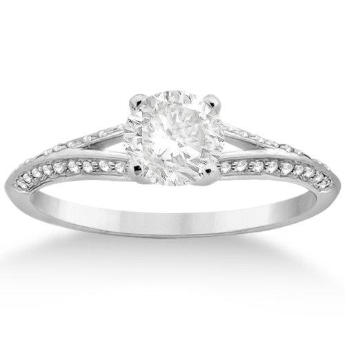 Petite Knife Edge Split Shank Diamond Engagement Ring Platinum Micro Pave Setting (0.18Ct)