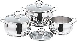 Vinod Cookware 202 Tall belly Casserole Set, 3-Pieces, Silver