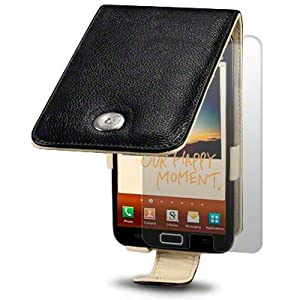 SAMSUNG GALAXY NOTE BLACK GENUINE LEATHER FLIP CASE / COVER / POUCH / HOLSTER, CREAM INSIDE, BY TERRAPIN + SCREEN PROTECTOR PART OF THE QUBITS ACCESSORIES RANGE