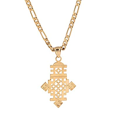 Africa Gold Necklace Ethiopian African Gold Wedding Cross Pendant Jewelry