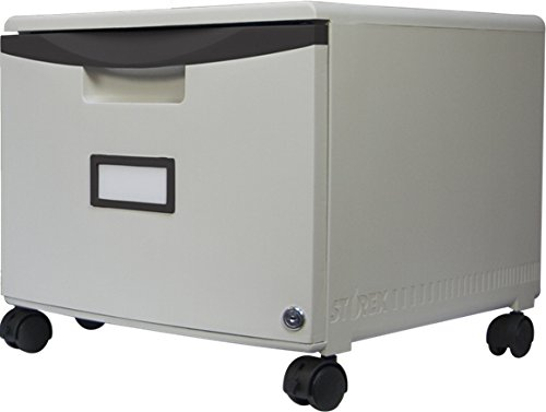 Storex Single Drawer Mini File Cabinet with Lock/Casters, 18.25 x 14.75 x 12.75 Inches, Gray/Black (61266B01C) (Stackable Filing Cabinets compare prices)