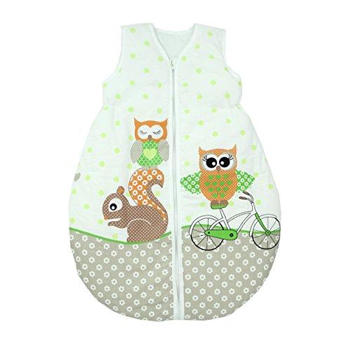 Baby-Schlafsack-Kinderschlafsack-Wattiert-Ganzjahres-Babyschlafsack-ohne-rmel-Farbe-Eulen-2-Grn-Gre-62-74