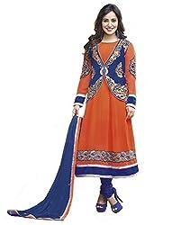 Ombresplash Womens Georgette Anarkali Dress Material (Os320 -Orange -Free Size)