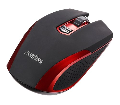 """Perixx Perimice-307R, High Performance Mouse - Wired Usb - Red - Gaming Stylish Design - 3.93""""X2.40""""X1.34"""" Dimension - Non-Programmable 5 Button - High Precision Blue Led - 800/1600 Dpi Resolution - Works On Almost Every Surface"""