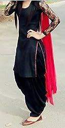 look n like women's black & red cotton net sleeve Dress materials