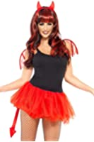 Smiffys Delicious Devil Kit with Mini Wings Horns Tail and Tutu (Red)