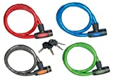 Master Lock Street Quantum Armoured Cable lock 1000 x 18 mm - Smoke/Red/Blue/Green, 4 Pieces