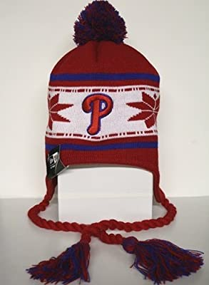 MLB New Era Philadelphia Phillies Red Striped Snowflake Tassel Beanie