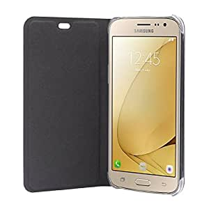 SDO™ Designer Textured Leather Finish Genuine Flip Cover for Samsung Galaxy J7 Prime (Black) + Micro USB OTG Cable