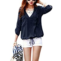 Women Deep V Neck Pullover Roll Up Sleeve Top Shirt