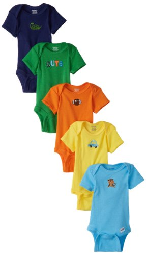 Gerber Baby-Boys 5 Pack Solid Onesies Brand, Blue/Yellow, 6-9 Months front-254611