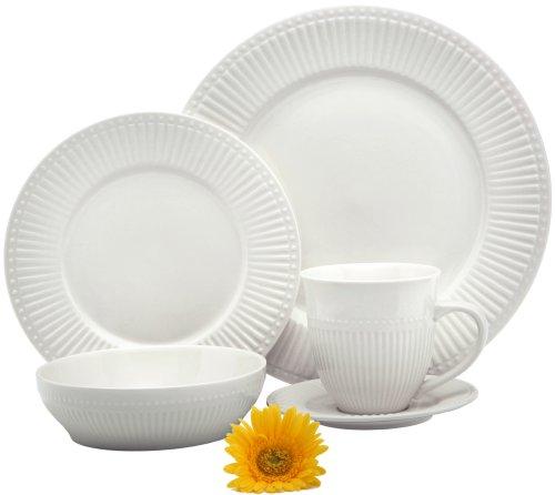 Melange Italian Villa Premium Porcelain 20-Piece Place Setting, Ivory, Serving for 4