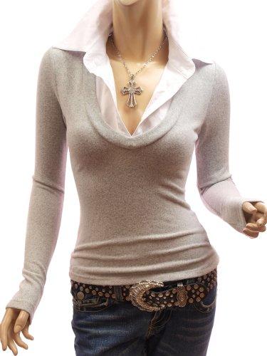 Patty Women Smart Shirt Collar V-Neck Knit Tops