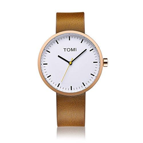 Tomi Watch 006 Quarzo Analogico Acciaio Inossidabile IP Oro Rosa Bianco Pelle Marrone Unisex Orologio Design