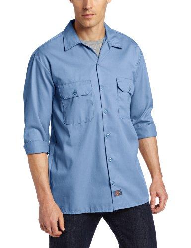 Dickies Men'S Long Sleeve Work Shirt, Gulf Blue, Large