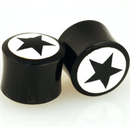 Pair of Horn Double Flared Plugs With Bone Reverse Star Inlay: 12mm