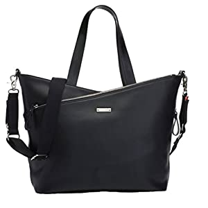 Storksak Lucinda Tote Diaper Bag - Smooth Black Leather by Storksak