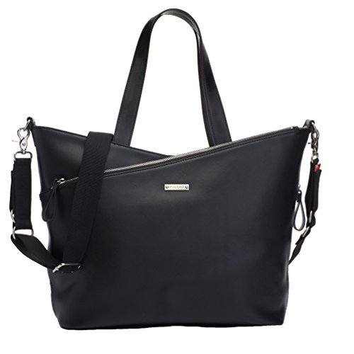Storksak Lucinda Tote Diaper Bag - Smooth Black Leather - 1