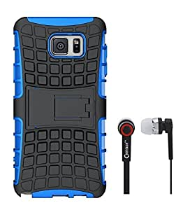Chevron Hybrid Military Grade Armor Kick Stand Back Cover Case for Samsung Galaxy Note 5 With Chevron 3.5mm Stereo Earphones (Royal Blue)