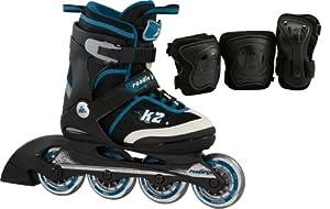 K2 Jungen Inline Skate Roadie Junior Pack Boys, Schwarz/Weiß/Blau, S, 3030090.1.1