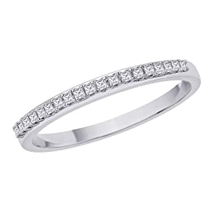 Princess Cut Diamond Band in Sterling Silver (0.11 cttw) (Size-5)