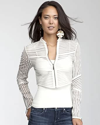 bebe Mini Striped Leather Jacket Total Outerwear Egret-xl at Amazon