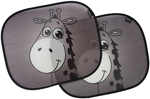 Car sun shades, premium giraffe design sunshade by EZ-Bugz, 2 pieces, shade & protect baby infant child, block UV rays driving in summer + winter, best universal auto accessories for side window