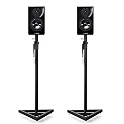 Flexzion Speaker Stand Floor Standing Mount with Triangle Base Height Adjustable (39\