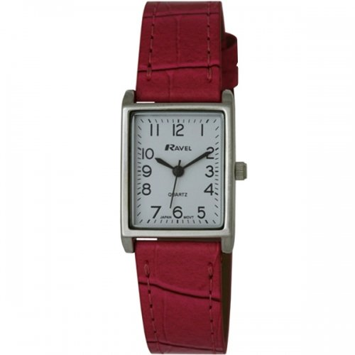 RAVEL WOMEN'S WHITE RECTANGULAR DIAL WATCH WITH