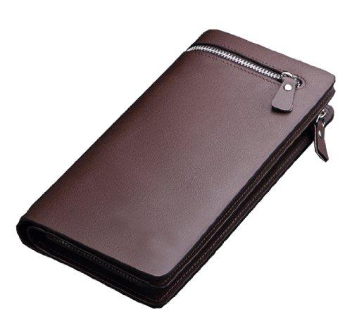 SAIERLONG Uomo Portamonete Portafogli portafoglio borsellino Marrone Pelle Di Mucca