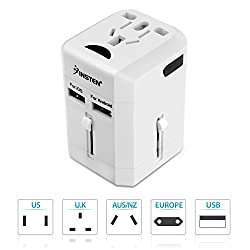 Insten Universal All in One Worldwide Travel Power Plug Wall AC Adapter Charger with Dual USB Charging Ports for US/EU/UK/AU, White (2016 New Version)