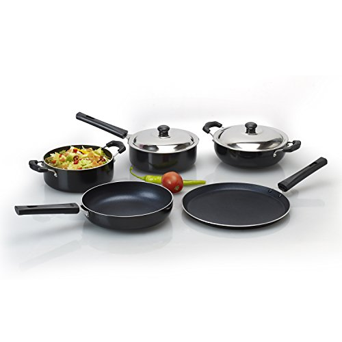 Anjali-7-Pcs-Non-Stick-Cookware-Gift-Set-Dosa-tawa-270mm-Fry-pan-220mm-Kadai-15-Ltr-Sauce-pan-15-Ltr-Casserole-15-Ltr-2-Stainless-Steel-Lids