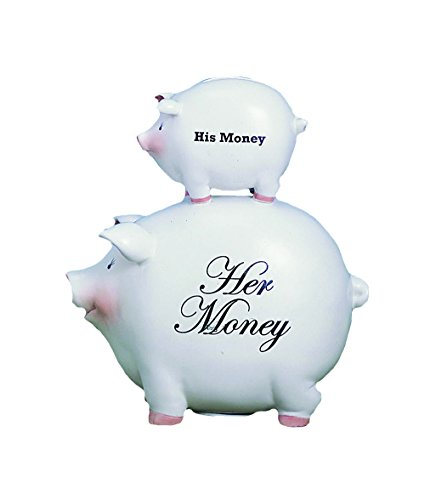 Young's His Money/Her Money Ceramic Piggy Bank, 8-Inch - 1