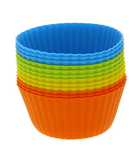 Silicone Cupcake Liners - 12-Pack Reusable Assorted Baking Cups 4-inches by Juvale (Mystery Machine Cake Pan compare prices)