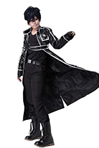 Kirito Costume Pleather Cosplay Clothing in X-Large