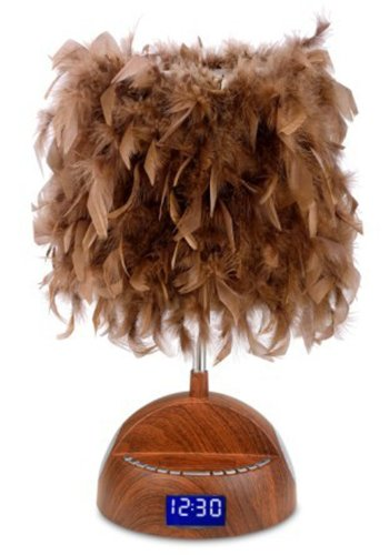 Lightunes Bluetooth Wood Grain Speaker Lamp With Alarm Clock, Fm Radio, Usb Charging Port, And Feather Shade