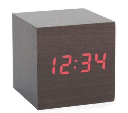 Kikkerland AC22-DK Clap-On Cube Alarm Clock, Dark Wood